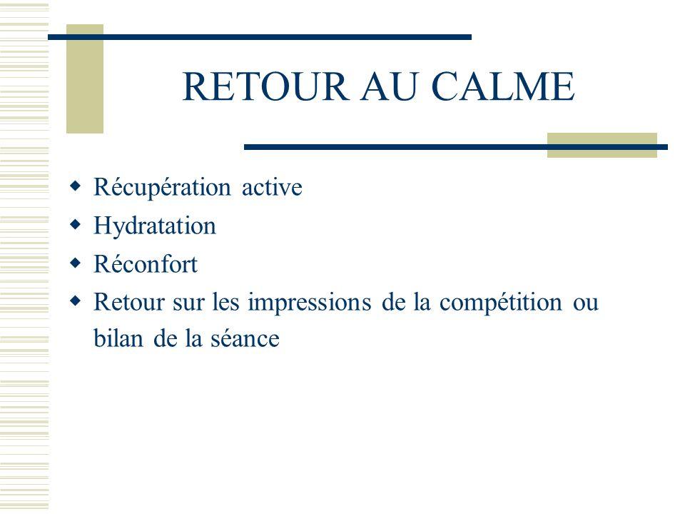RETOUR AU CALME Récupération active Hydratation Réconfort Retour sur les impressions de la compétition ou bilan de la séance