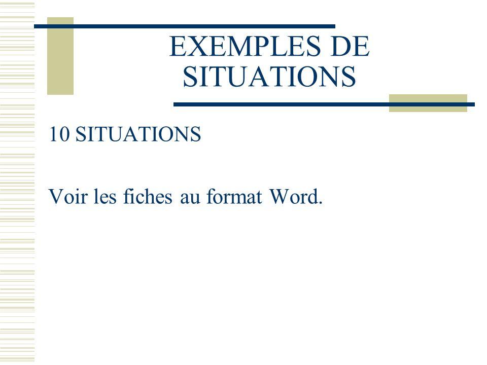 EXEMPLES DE SITUATIONS 10 SITUATIONS Voir les fiches au format Word.
