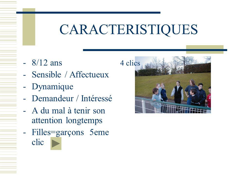 CARACTERISTIQUES -8/12 ans -Sensible / Affectueux -Dynamique -Demandeur / Intéressé -A du mal à tenir son attention longtemps -Filles=garçons 5eme cli