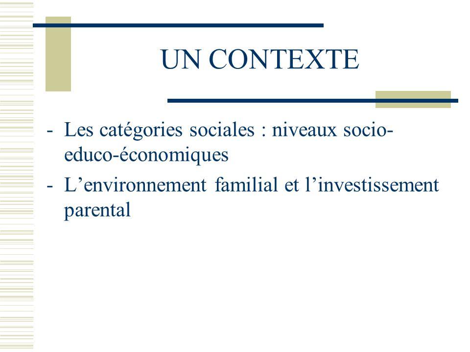 UN CONTEXTE -Les catégories sociales : niveaux socio- educo-économiques -Lenvironnement familial et linvestissement parental