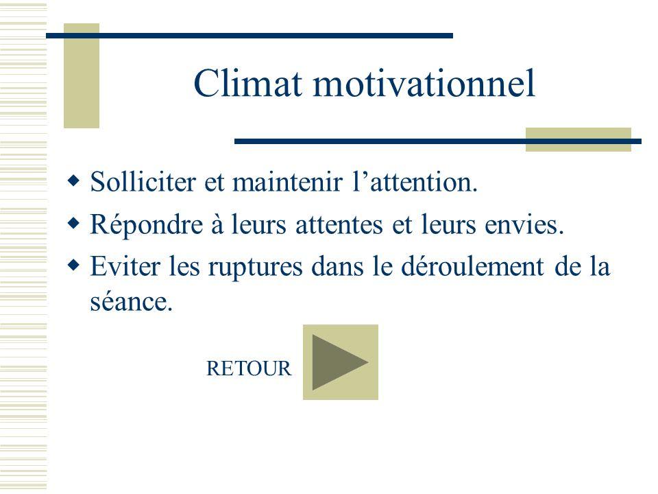 Climat motivationnel Solliciter et maintenir lattention. Répondre à leurs attentes et leurs envies. Eviter les ruptures dans le déroulement de la séan