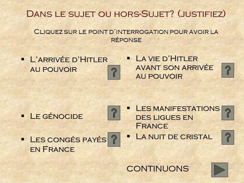 Dans le sujet ou hors-Sujet? (justifiez) Cliquez sur le point dinterrogation pour avoir la réponse Larrivée dHitler au pouvoir Le génocide Les congés