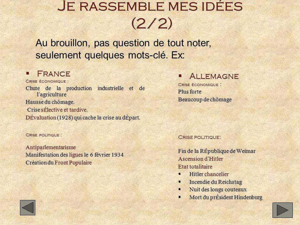 Je rassemble mes idées (2/2) France Crise économique : Chute de la production industrielle et de l agriculture Hausse du chômage. Crise s é lective et