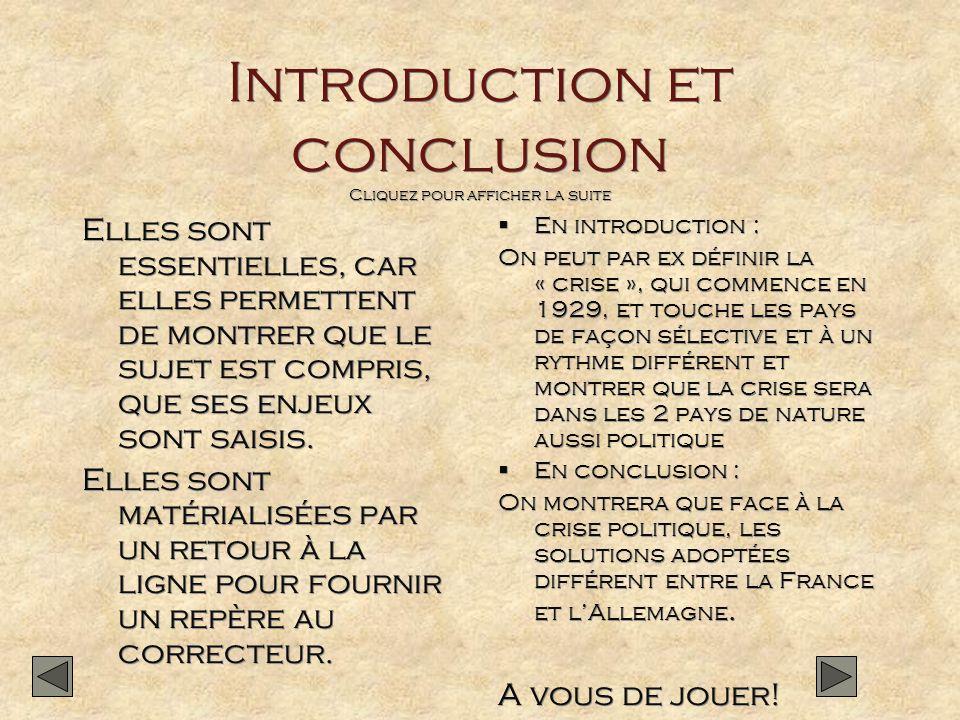 Introduction et conclusion Cliquez pour afficher la suite Elles sont essentielles, car elles permettent de montrer que le sujet est compris, que ses e