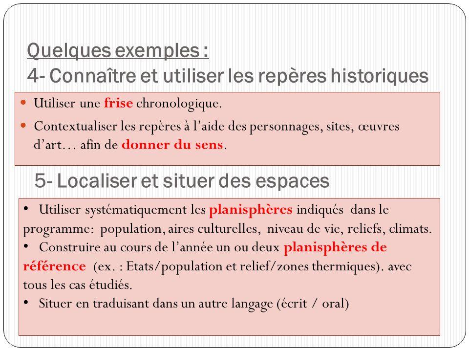 Quelques exemples : 4- Connaître et utiliser les repères historiques Utiliser une frise chronologique. Contextualiser les repères à laide des personna