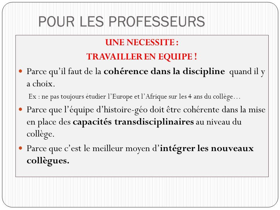 POUR LES PROFESSEURS UNE NECESSITE : TRAVAILLER EN EQUIPE ! Parce quil faut de la cohérence dans la discipline quand il y a choix. Ex : ne pas toujour
