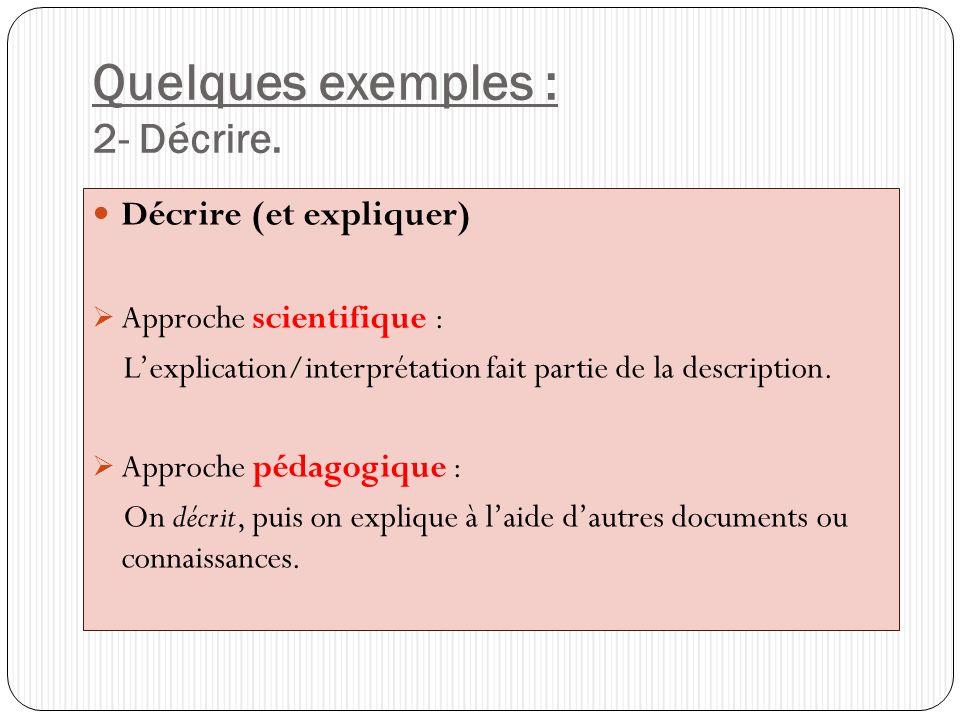 Quelques exemples : 2- Décrire. Décrire (et expliquer) Approche scientifique : Lexplication/interprétation fait partie de la description. Approche péd