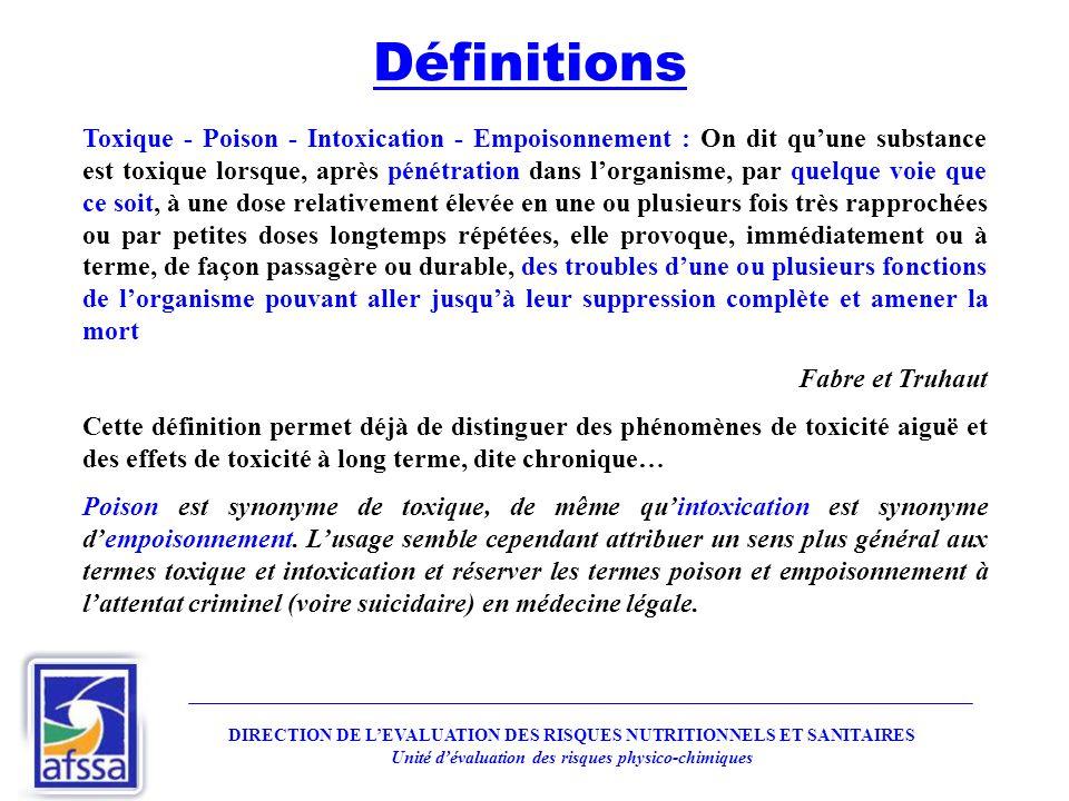 Toxique - Poison - Intoxication - Empoisonnement : On dit quune substance est toxique lorsque, après pénétration dans lorganisme, par quelque voie que