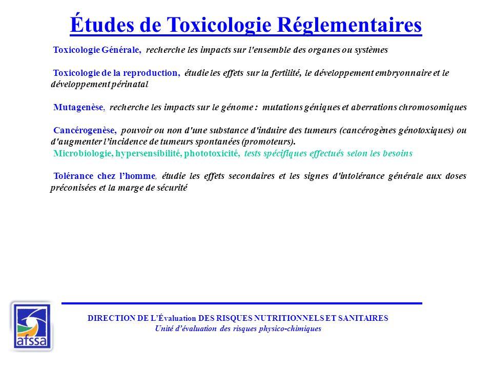 DIRECTION DE LÉvaluation DES RISQUES NUTRITIONNELS ET SANITAIRES Unité dévaluation des risques physico-chimiques Études de Toxicologie Réglementaires