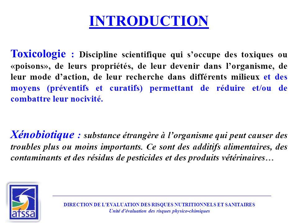 INTRODUCTION Toxicologie : Discipline scientifique qui soccupe des toxiques ou «poisons», de leurs propriétés, de leur devenir dans lorganisme, de leu