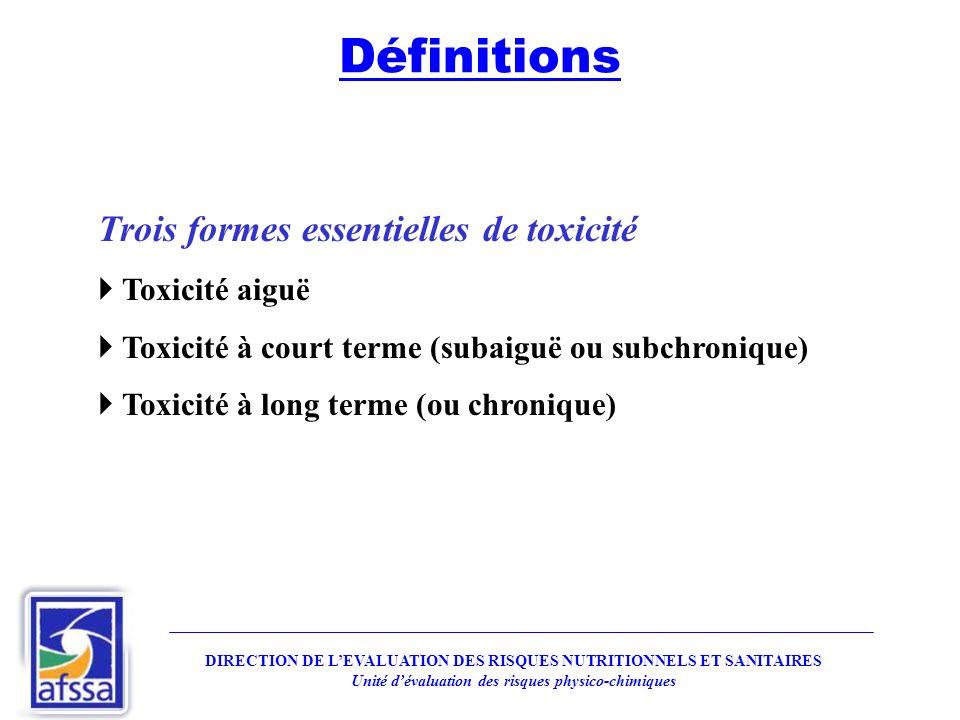 Trois formes essentielles de toxicité Toxicité aiguë Toxicité à court terme (subaiguë ou subchronique) Toxicité à long terme (ou chronique) DIRECTION