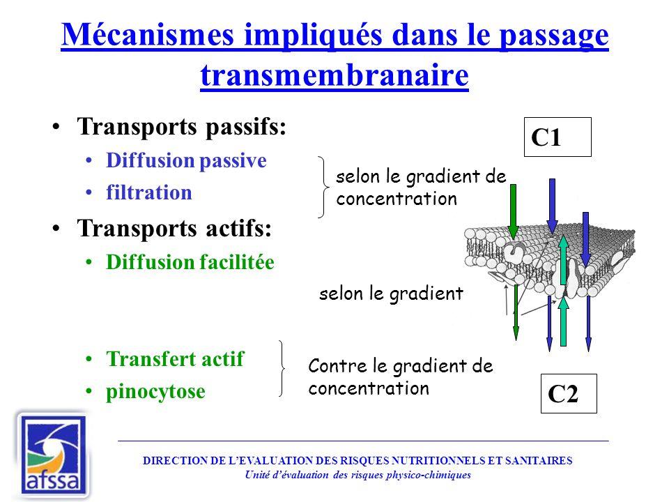 Mécanismes impliqués dans le passage transmembranaire Transports passifs: Diffusion passive filtration Transports actifs: Diffusion facilitée Transfer