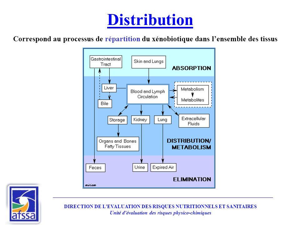 Distribution DIRECTION DE LEVALUATION DES RISQUES NUTRITIONNELS ET SANITAIRES Unité dévaluation des risques physico-chimiques Correspond au processus