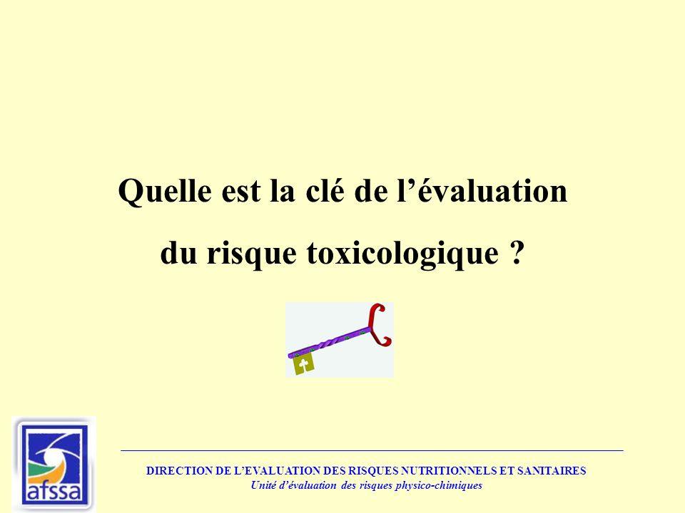 Quelle est la clé de lévaluation du risque toxicologique ? DIRECTION DE LEVALUATION DES RISQUES NUTRITIONNELS ET SANITAIRES Unité dévaluation des risq