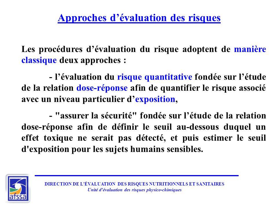Approches dévaluation des risques Les procédures dévaluation du risque adoptent de manière classique deux approches : - lévaluation du risque quantita