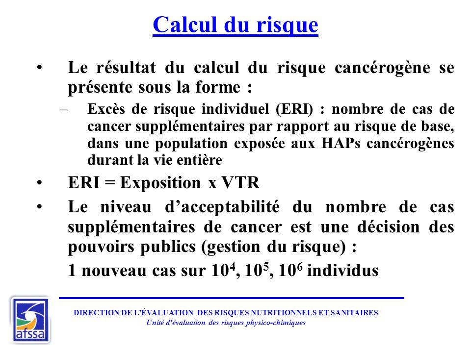 Calcul du risque Le résultat du calcul du risque cancérogène se présente sous la forme : –Excès de risque individuel (ERI) : nombre de cas de cancer s