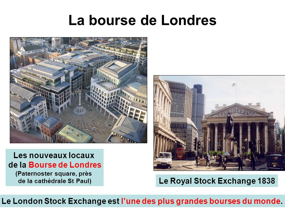 La bourse de Londres Le Royal Stock Exchange 1838 Les nouveaux locaux de la Bourse de Londres (Paternoster square, près de la cathédrale St Paul) Le L