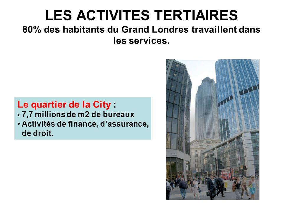 LES ACTIVITES TERTIAIRES 80% des habitants du Grand Londres travaillent dans les services. Le quartier de la City : 7,7 millions de m2 de bureaux Acti