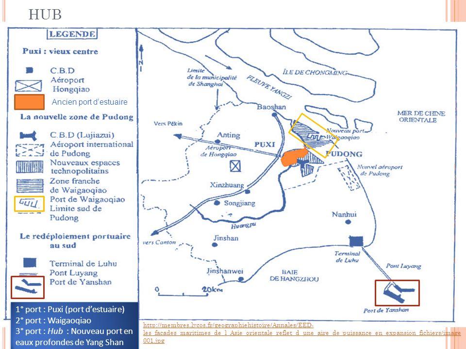 L ES PORTS DE S HANGHAI : DU PORT D ESTUAIRE AU HUB 1° port : Puxi (port destuaire) 2° port : Waigaoqiao 3° port : Hub : Nouveau port en eaux profondes de Yang Shan 1° port : Puxi (port destuaire) 2° port : Waigaoqiao 3° port : Hub : Nouveau port en eaux profondes de Yang Shan http://membres.lycos.fr/geographiehistoire/Annales/EED- les_facades_maritimes_de_l_Asie_orientale_reflet_d_une_aire_de_puissance_en_expansion_fichiers/image 001.jpg Ancien port destuaire 12