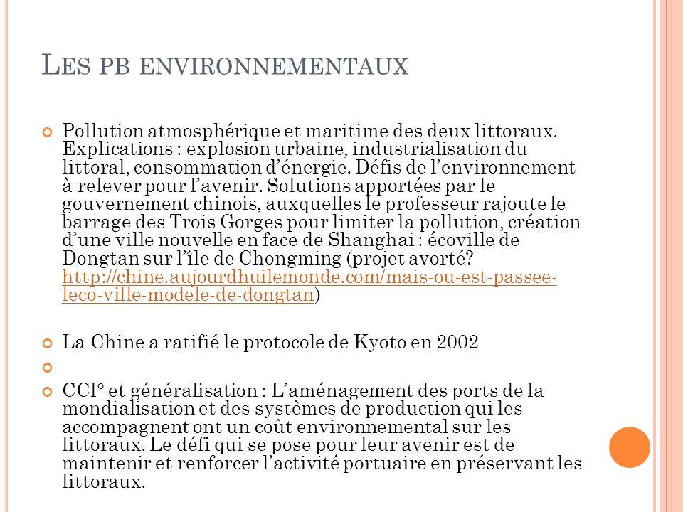 L ES PB ENVIRONNEMENTAUX Pollution atmosphérique et maritime des deux littoraux.