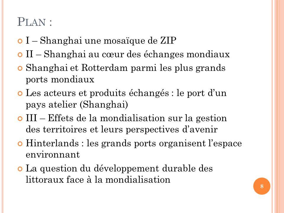 I – S HANGHAI, LES MOSAÏQUES DE ZIP DES GRANDS PORTS DE LA MONDIALISATION (1° HEURE ) : ÉCHELLE LOCALE Comment les paysages de Shanghai et Rotterdam sont-ils marqués par leur rôle dinterfaces de la mondialisation .