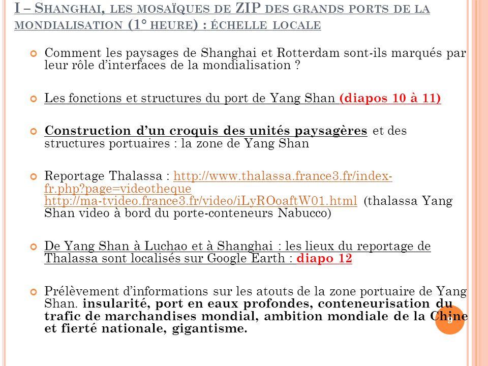 III – E FFETS DE LA MONDIALISATION SUR LA GESTION DES TERRITOIRES ET LEURS PERSPECTIVES D AVENIR (3° HEURE ) ECHELLE RÉGIONALE A.