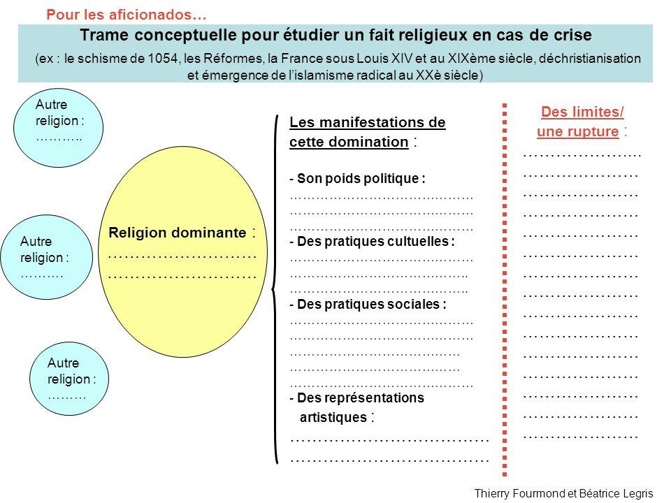 Trame conceptuelle pour étudier un fait religieux en cas de crise (ex : le schisme de 1054, les Réformes, la France sous Louis XIV et au XIXème siècle, déchristianisation et émergence de lislamisme radical au XXè siècle) Religion dominante : ……………………… Les manifestations de cette domination : - Son poids politique : …………………………………… - Des pratiques cultuelles : …………………………………… …………………………………..