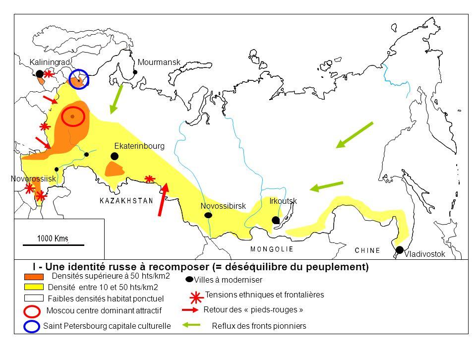 Mourmansk Ekaterinbourg Novossibirsk Vladivostok Novorossiisk Irkoutsk Kaliningrad 11 fuseaux horaires Côtes bloquées par le gel + de 6 mois Relief montagneux aridité charbon hydrocarbures minerais Terres agricoles de qualité Limite de la taïga (forêt) II- ATOUX ET CONTRAINTES