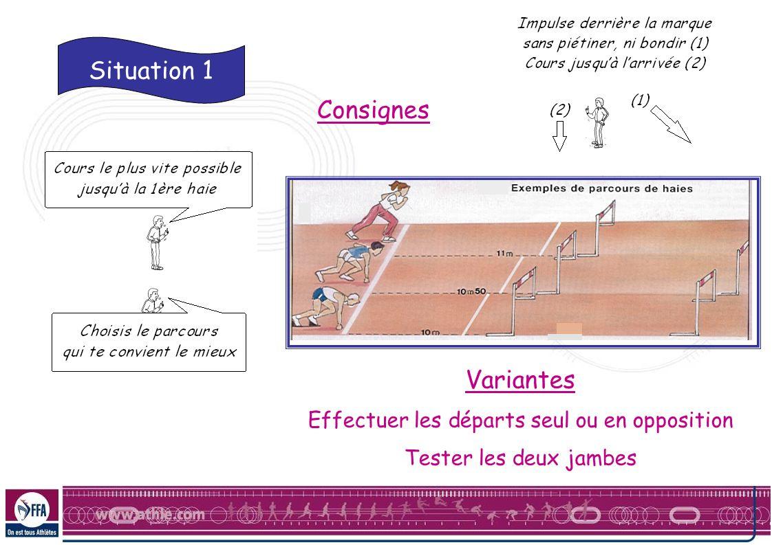 Situation 1 Consignes Variantes Effectuer les départs seul ou en opposition Tester les deux jambes