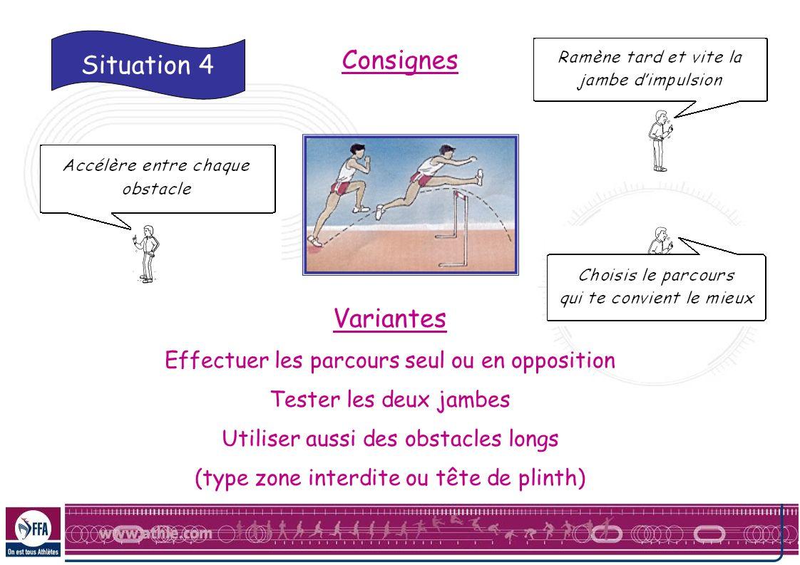 Consignes Variantes Effectuer les parcours seul ou en opposition Tester les deux jambes Utiliser aussi des obstacles longs (type zone interdite ou têt