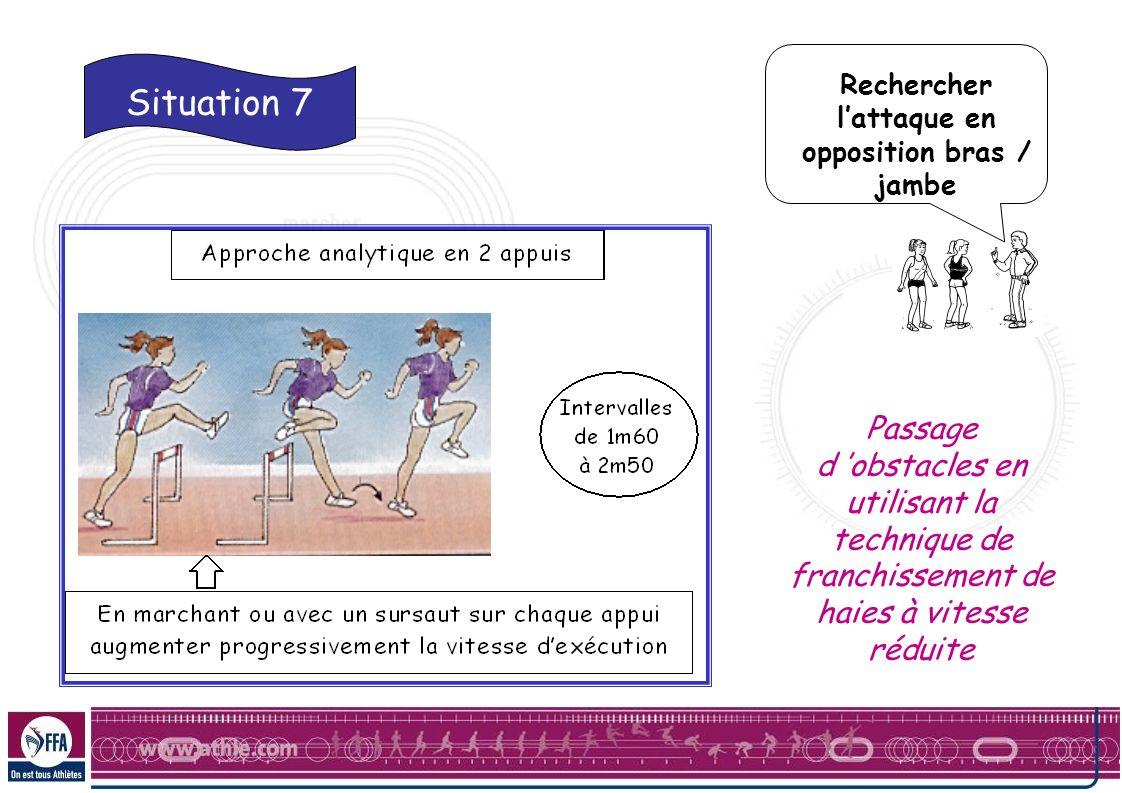Rechercher lattaque en opposition bras / jambe Passage d obstacles en utilisant la technique de franchissement de haies à vitesse réduite Situation 7