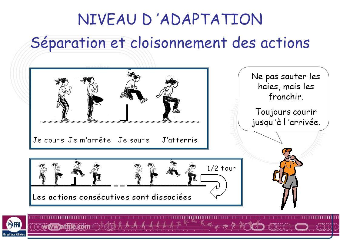 NIVEAU D ADAPTATION Séparation et cloisonnement des actions Ne pas sauter les haies, mais les franchir. Toujours courir jusqu à l arrivée.