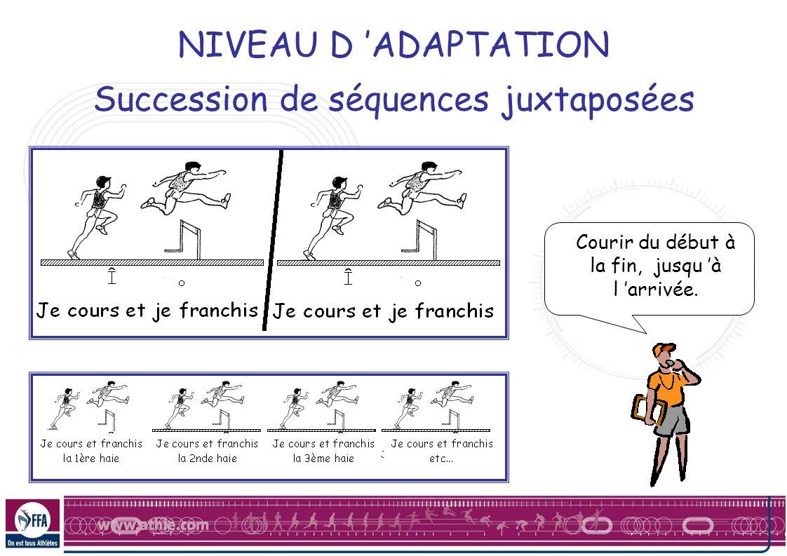 NIVEAU D ADAPTATION Succession de séquences juxtaposées Courir du début à la fin, jusqu à l arrivée.