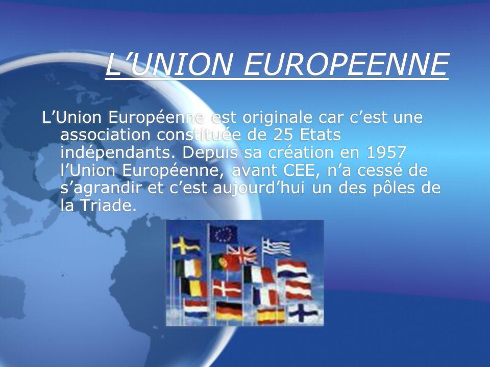 LUNION EUROPEENNE LUnion Européenne est originale car cest une association constituée de 25 Etats indépendants.