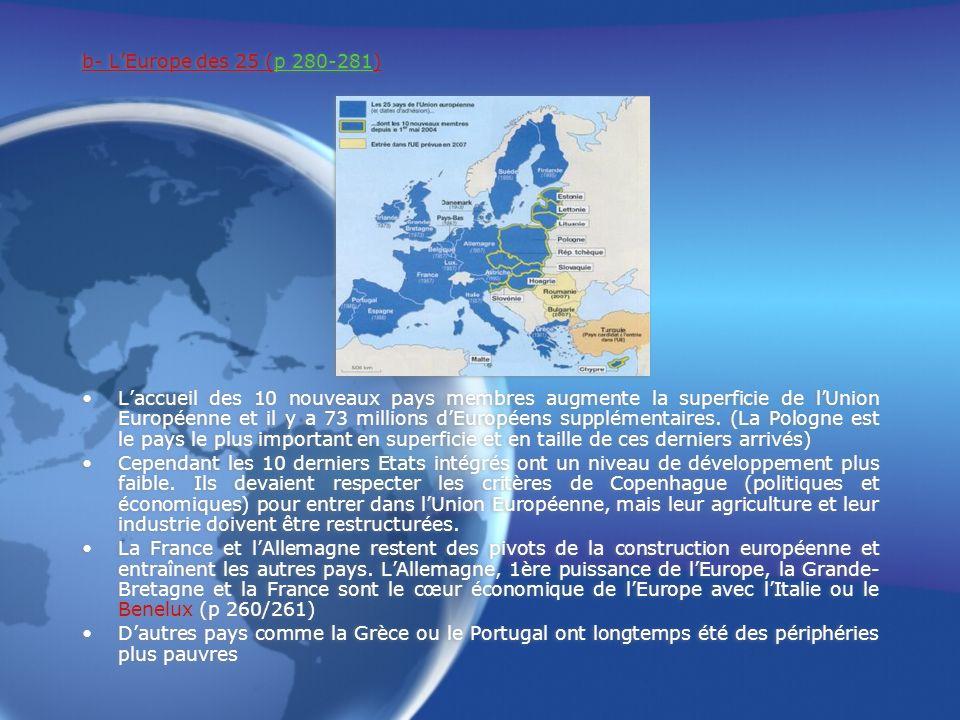 b- LEurope des 25 (p 280-281) Laccueil des 10 nouveaux pays membres augmente la superficie de lUnion Européenne et il y a 73 millions dEuropéens supplémentaires.