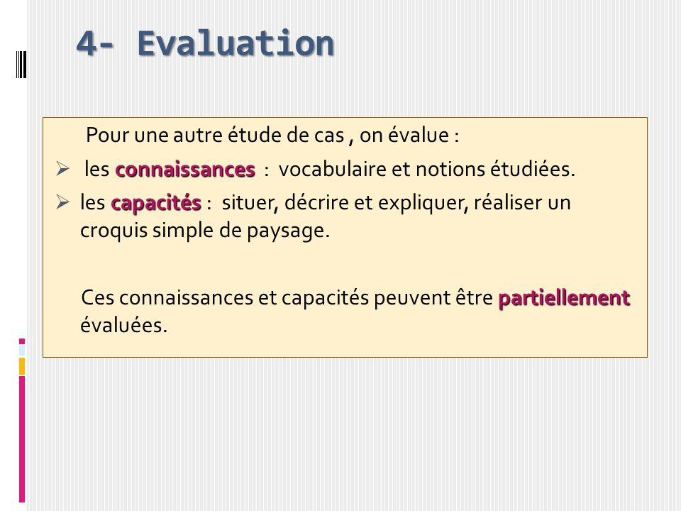 4- Evaluation Pour une autre étude de cas, on évalue : connaissances les connaissances : vocabulaire et notions étudiées. capacités les capacités : si