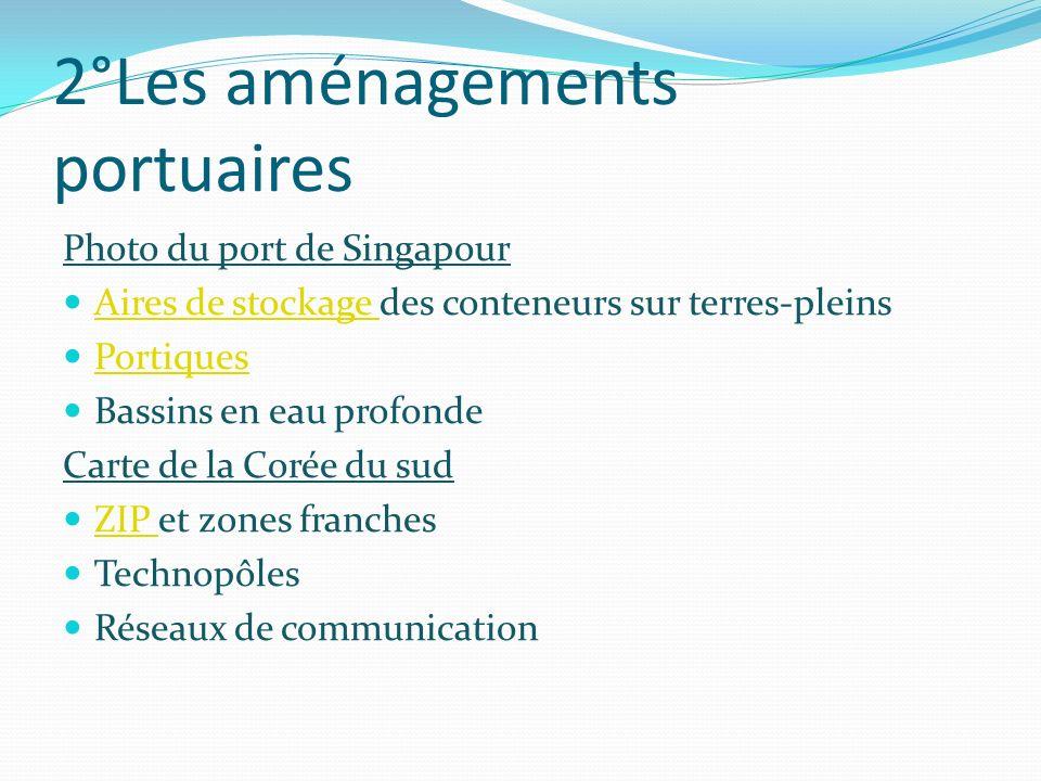 2°Les aménagements portuaires Photo du port de Singapour Aires de stockage des conteneurs sur terres-pleins Aires de stockage Portiques Bassins en eau
