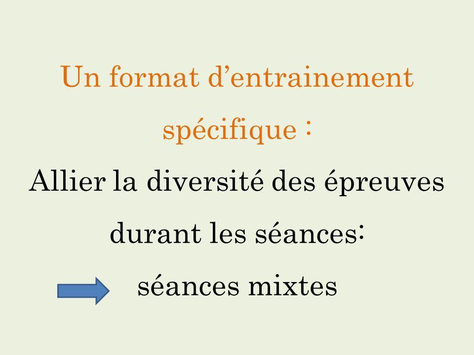 Un format dentrainement spécifique : Allier la diversité des épreuves durant les séances: séances mixtes