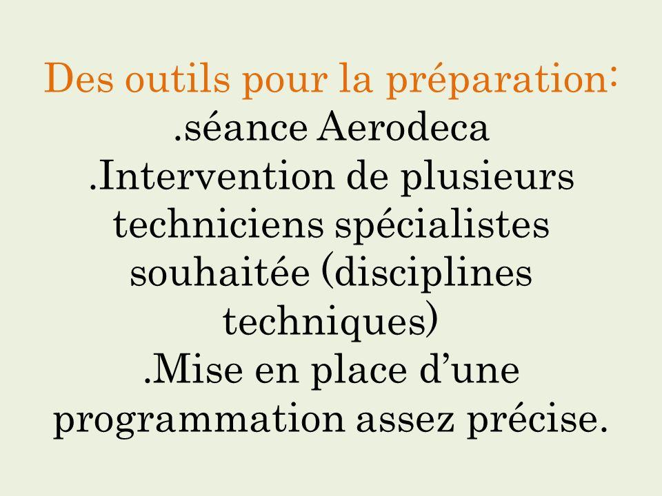 Des outils pour la préparation:.séance Aerodeca.Intervention de plusieurs techniciens spécialistes souhaitée (disciplines techniques).Mise en place du