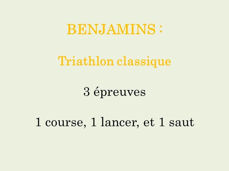 BENJAMINS : Triathlon classique 3 épreuves 1 course, 1 lancer, et 1 saut