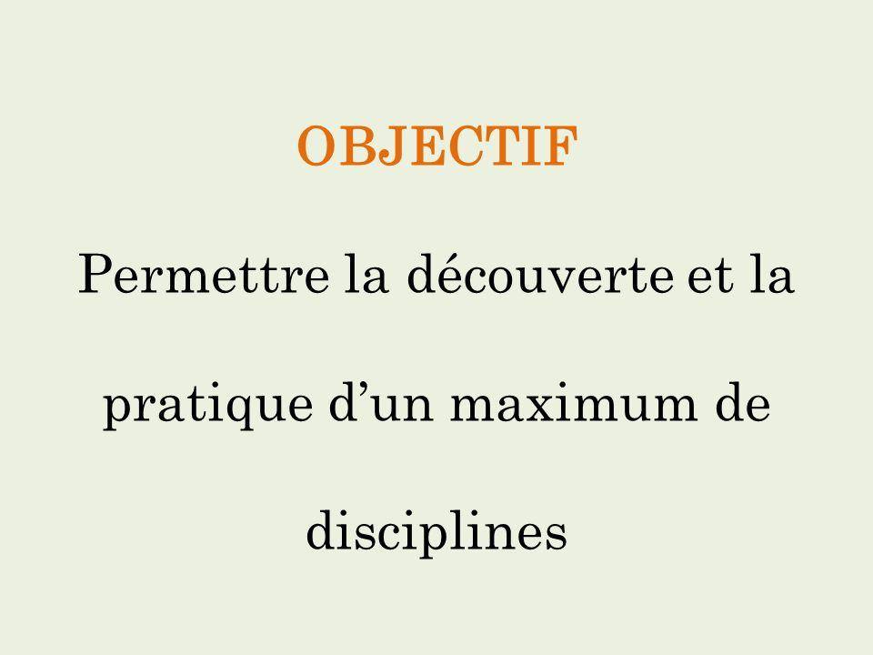 OBJECTIF Permettre la découverte et la pratique dun maximum de disciplines