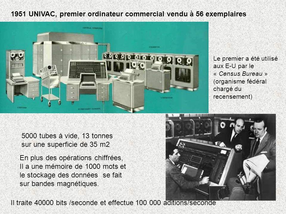 1951 UNIVAC, premier ordinateur commercial vendu à 56 exemplaires En plus des opérations chiffrées, Il a une mémoire de 1000 mots et le stockage des d