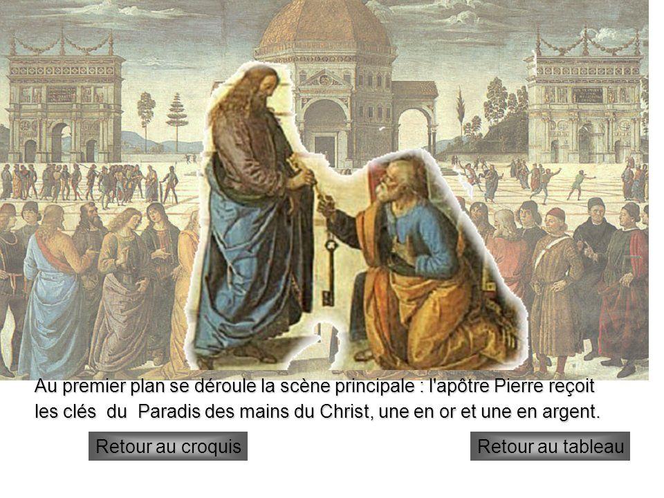 1°plan Au premier plan se déroule la scène principale : l'apôtre Pierre reçoit les clés du Paradis des mains du Christ, une en or et une en argent. Re