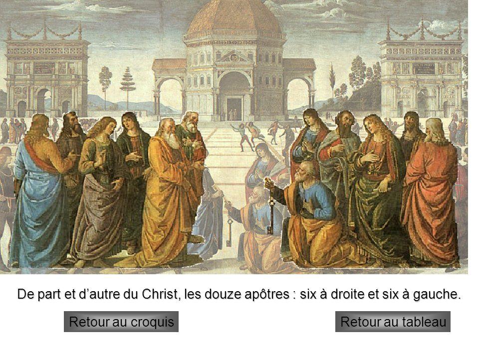 apôtres De part et dautre du Christ, les douze apôtres : six à droite et six à gauche. Retour au croquisRetour au tableau
