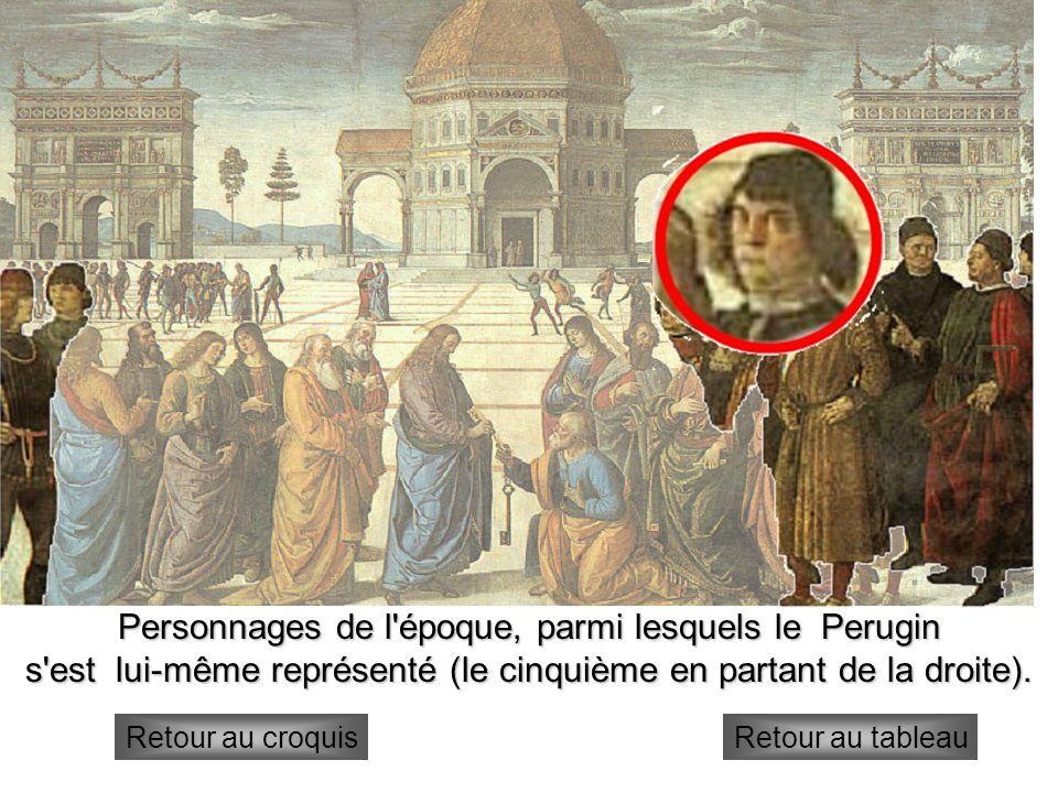 Autres personnages Personnages de l'époque, parmi lesquels le Perugin s'est lui-même représenté (le cinquième en partant de la droite). Retour au croq