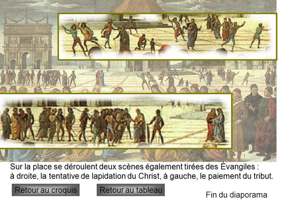 lapidation Sur la place se déroulent deux scènes également tirées des Évangiles : à droite, la tentative de lapidation du Christ, à gauche, le paiemen