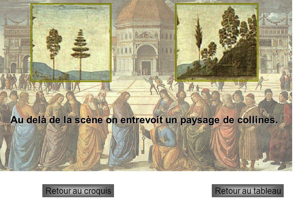 temple Retour au croquisRetour au tableau Au centre, la scène est dominée par un édifice aux formes géométriques (hexagone) qui évoque le temple de Jérusalem.
