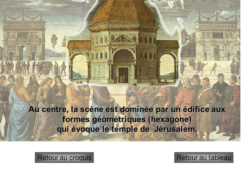 temple Retour au croquisRetour au tableau Au centre, la scène est dominée par un édifice aux formes géométriques (hexagone) qui évoque le temple de Jé