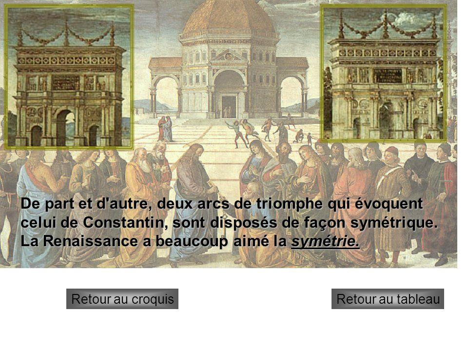 Arcs de triomphe De part et d'autre, deux arcs de triomphe qui évoquent celui de Constantin, sont disposés de façon symétrique. La Renaissance a beauc