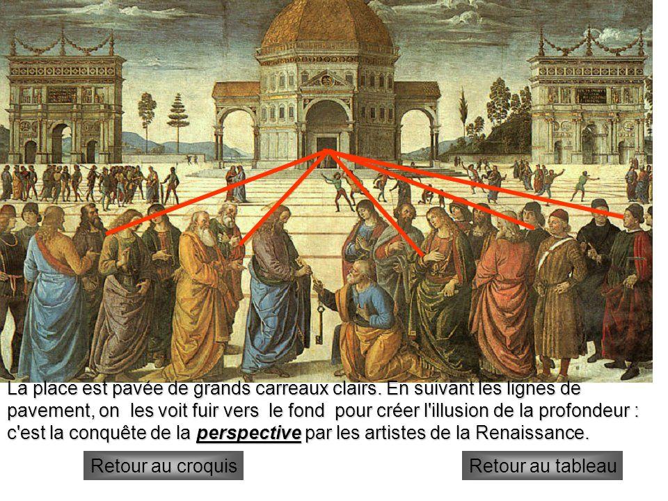 1°plan Au premier plan se déroule la scène principale : l apôtre Pierre reçoit les clés du Paradis des mains du Christ, une en or et une en argent.